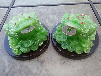 1pair Chinese Wealth Lucky Money Coin Frog Toad Green Color 4.5 H