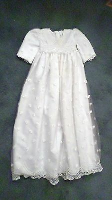 Vintage Corrine Christening Gown w/ Flowers Sequins & Pearls on Lace 3-6 mo