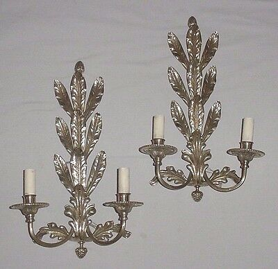 """Antique Foliage Leaves Pair Brass Bronze Wall Sconces 2 Lights Each Wired 16.5"""""""