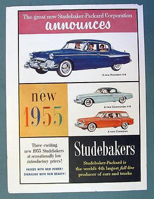 1955 Studebaker Car Ad Announcing the New President, Commander & Champion Wagon