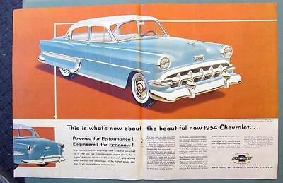 CHEVROLET 4 DOOR BEL AIR Original 1954 Car Two Page Joined Centerfold Ad