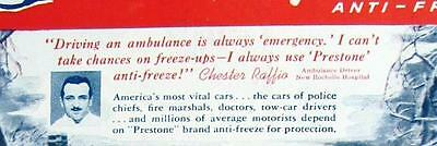 1947 Prestone Ad Photo Endorsed by EMT Chester Raffio of New Rochelle New York