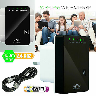 Wifi Repeater Router Range Booster Extender 300Mbps N 802.11 AP Wireless Sky Wps