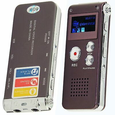 Rechargeable 8GB Digital Sound Voice Recorder Steel Dictaphone MP3 Player Record