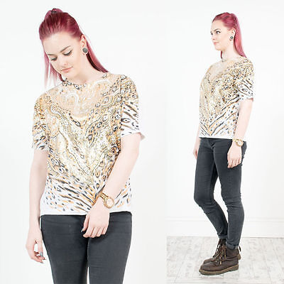 Vintage 80's Leopard T-Shirt Gold Metallic Shiny Oversize Glam Going Out 12