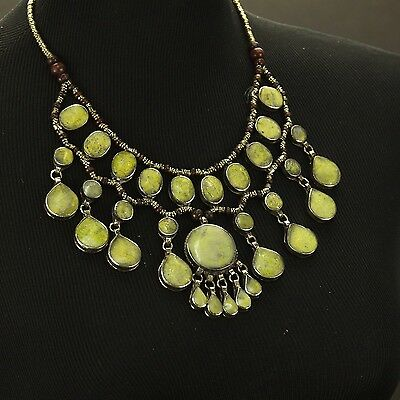 LIGHT GREEN Genuine Stone BellyDance ATS Costume NECKLACE Kuchi Tribal 806d5