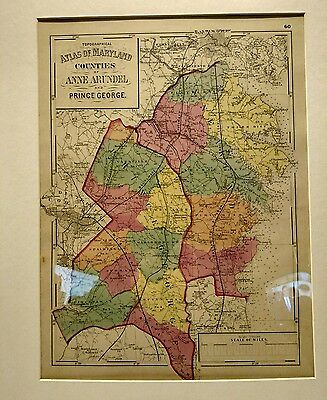 Vintage Anne Arundel and Prince George County Map 1873