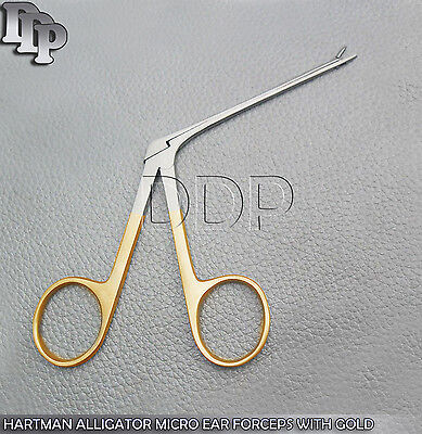 """Hartman Alligator Micro Ear Forceps 3.5"""" Serrated With Gold Handle"""