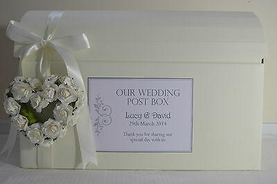 Personalised wedding card chest post box with heart & ribbon choose your colour