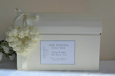 Personalised wedding card chest post box & guest book with heart & ribbon