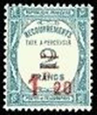 "FRANCE STAMP TIMBRE TAXE 64 "" RECOUVREMENT 1F 20s. 2F BLEU "" NEUF xx TTB"