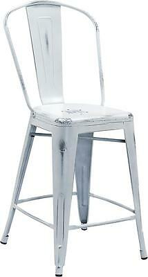 24'' High Distressed White Metal Indoor Counter Height Stool