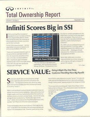 1992 Infiniti Total Ownership Report Salesman's Brochure my5657