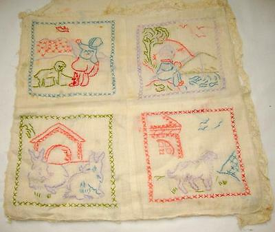"""Wonderful Antique Embroidered Child's Pillowcase, 4 Nursery Scenes in Color, 10"""""""