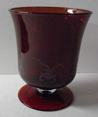 Vintage Ruby Glass Etched Footed Compote / Vase / Dish