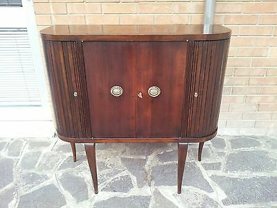 Beautiful Unusual Italian Art Deco Walnut Cabinet Cocktail Bar From 1940 - 50