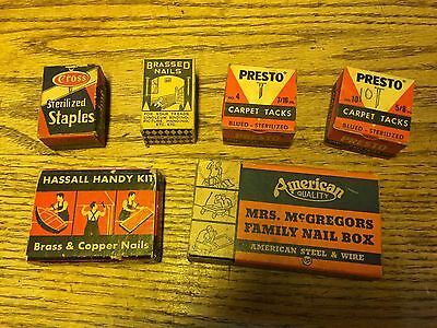 Lot Of 6 Vintage Boxes Of Nails & Tacks