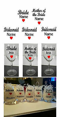 Bride Glass Stickers Wine glass stickers DIY stickers Mother of bride Bridemaid