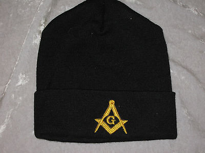 Masonic Square Compass Stocking Hat Knit Cap Black Embroidered Warm Winter NEW!
