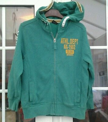 Next Boys Blue Apple Green Zip Up Hooded Long Sleeved Top - Aged 8 Yrs