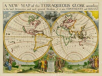 Map of the Terraqueous Globe 1700 Vintage Style World Map - 20x28