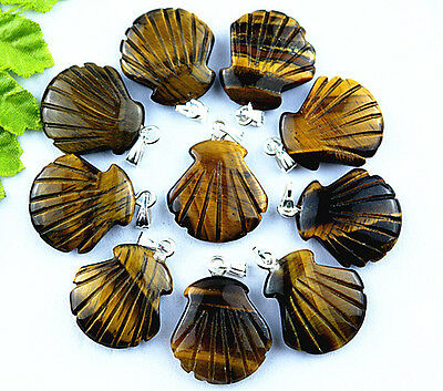 Wholesale 10Pcs Hand Carved Natural Tiger's Eye Stone Shell Pendant Beads A7659