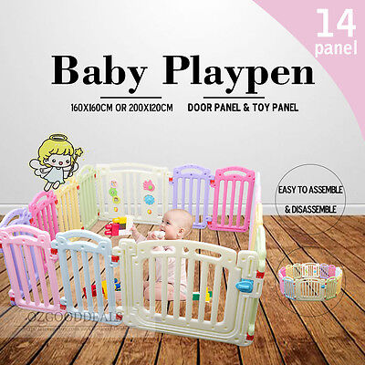 Large 14 Panel Sqaure Round Colorful Toddler Kids Baby Playpen Divider 1.6x1.6m