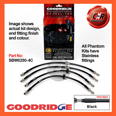 BMW 3 Series (E46) Not M3 99-06 Goodridge Stainless Black Brake Hoses SBW0250-4C