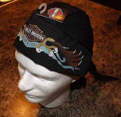 Genuine Harley Davidson Black Skull Cap Doo Du Do Rag Bandana Eagle Headwrap!