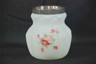 Antique Consolidated Open Hearts & Arches Hand Painted White Satin Glass Celery