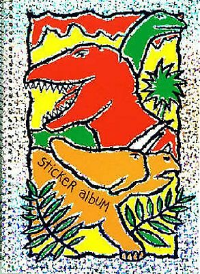 Colorful Dinosaurs glitter sticker album- made in USA -reusable pages