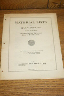 Vintage Materials Lists of Barn Designs Southern Pine