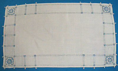 1940's ITALIAN LINEN PLACEMATS SET OF 6 WHITE NEEDLELACE INSERTS
