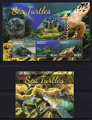 Dominica 2014 Turtles Sheetlet 3 + M/S MNH