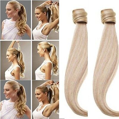 Magic Clip in Hair Extension Pony Tail Wrap around  Human Made Real Quality MS68