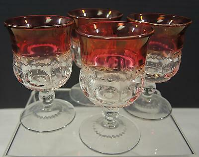 Four EAPG Pattern Glass Adam King's Crown Cordials