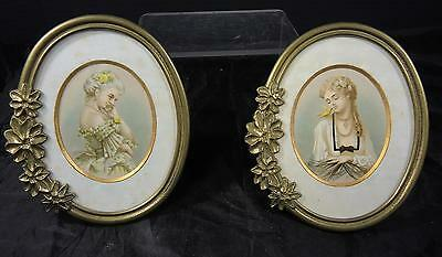 Pair of Victorian Influenced Brass Frames With Cameo Portraits