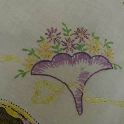 Vintage Embroidered Runner Dresser Cloth Crocheted Edge Purple Yellow Floral