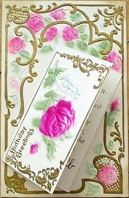 1910 Embossed Novelty Postcard w/Applied/Add-On Greeting Card w/Rose