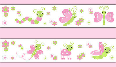 Butterfly Dragonfly Ladybug Wallpaper Border Wall Decals Girl Nursery Stickers