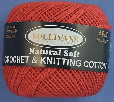 Bright Red 4 ply Crochet or Knitting Cotton
