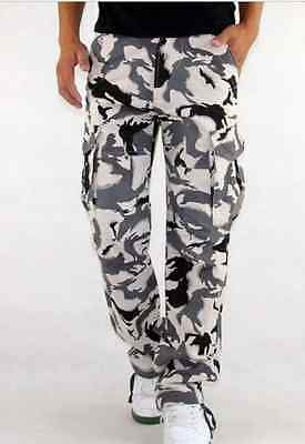 Hot Men's Casual Military Trousers White Camouflage Camo Cargo Combat Pants W525