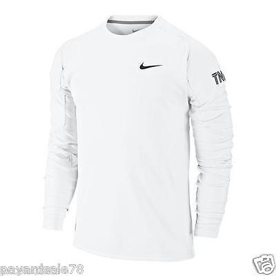 Men's Size Xl Long Sleeve Tennis Shirt Dry-Fit French Terry White / Black