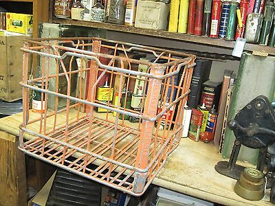 old dairy metal wire milk bottle carrer crate basket tote farm SANITARY FARM