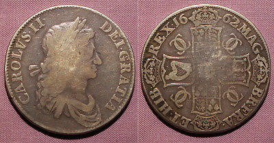 1662 KING CHARLES II SILVER CROWN - 1st Bust No Rose Below