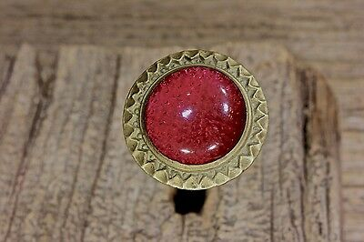 "Picture Nail artwork hanger old 1 1/16"" red glass vintage 1800's decorated brass"