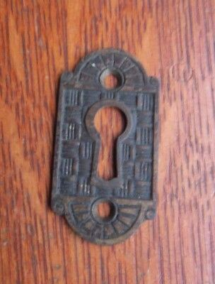 Antique Fancy Craftsman Victorian Brass Keyhole Plate - c1885 - Patented