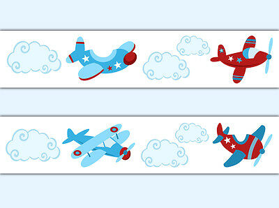 Airplane Aviator Wallpaper Border Wall Decal Boy Aviation Transportation Nursery