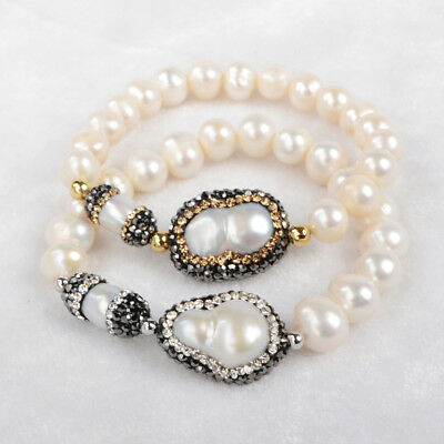 1Pcs CZ Paved Natural Pearl Beads Edge,Real Pearl Beaded Bracelet Stretch HJA174