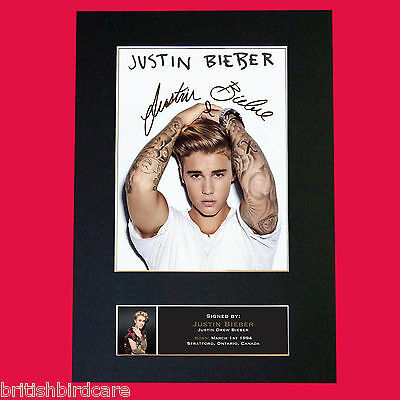 JUSTIN BIEBER #3 Signed Autograph Quality Mounted Photo Repro A4 Print No600
